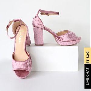 Lulus Reegan Blush Crushed Velvet Platform Heels